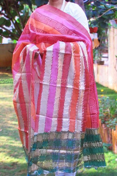 Designer Tussar Silk Dupatta with woven knotted pattern