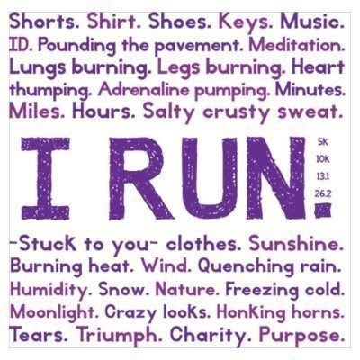 I'm kind of obsessed with running... Great words. Running is everything.