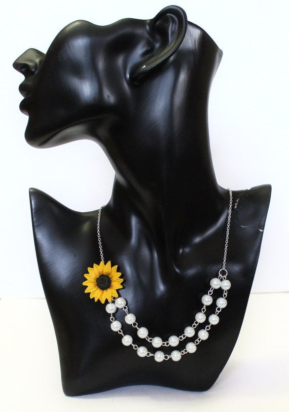 Sunflower Necklace  Sunflower Jewelry  Gifts  by NikushJewelryArt