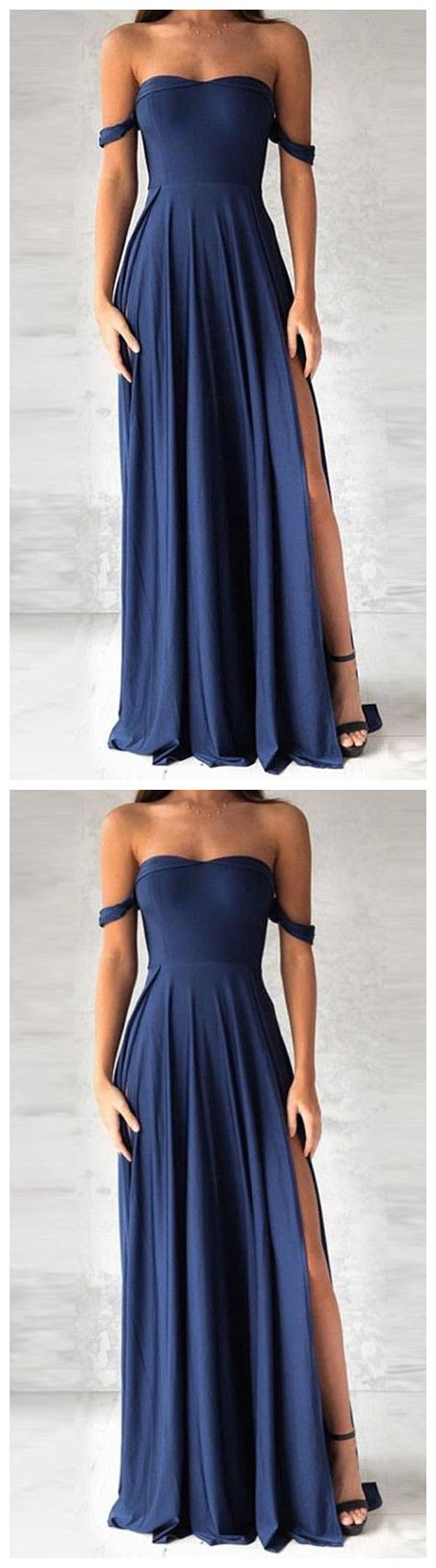 elegant navy blue prom dress, fashion off the shoulder party dress with split P0386  #promdresses #longpromdress #2018promdresses #fashionpromdresses #charmingpromdresses #2018newstyles #fashions #styles #hiprom #prom #navyblue #offtheshoulder #chiffon