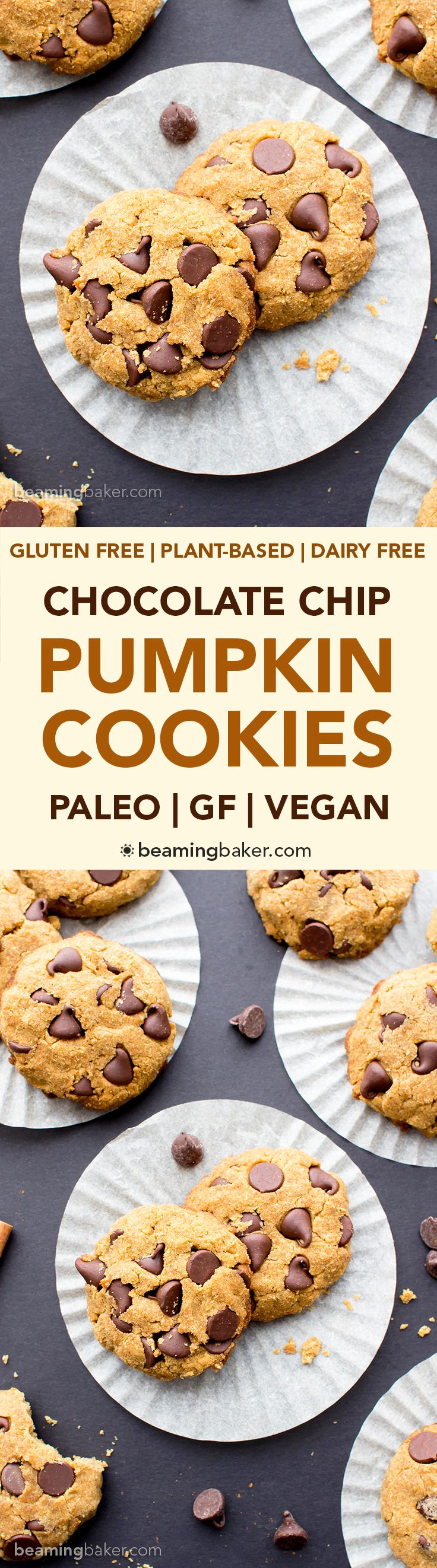 Paleo Vegan Pumpkin Chocolate Chip Cookies (V, GF, Paleo): an easy recipe for super soft pumpkin chocolate chip cookies made with whole ingredients. #Vegan #Paleo #GlutenFree #DairyFree | BeamingBaker.com