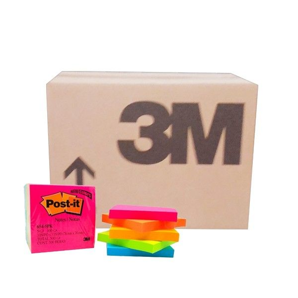 """Post-it Color Notes - Neon Colours 654-5PK (grosir) - Tempelan Kertas Memo Berbagai Warna Merk 3M  3"""" x 3"""", Neon 100 sheets/pad, 5pads/pack     (24 Pack/Ctn) - Harga per Ctn  http://tigaem.com/post-it/953-post-it-color-notes-neon-colours-654-5pk-grosir-tempelan-kertas-memo-berbagai-warna-merk-3m.html  #postit #notes #memo #3M"""