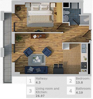 Apartment 247 13th Floor 49 4 Square Meters 70 015 00