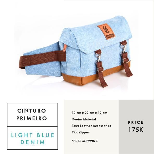 CINTURO PRIMEIRO LIGHT BLUE DENIM  IDR 175.000  FREE SHIPPING ALL OVER INDONESIA    Dimension: 30 cm x 22 cm x 12 cm 8 Litre   Material: High Quality Denim Faux Leather Accessories Leather Accessories YKK Zipper  #GoodChoiceforGoodLooking