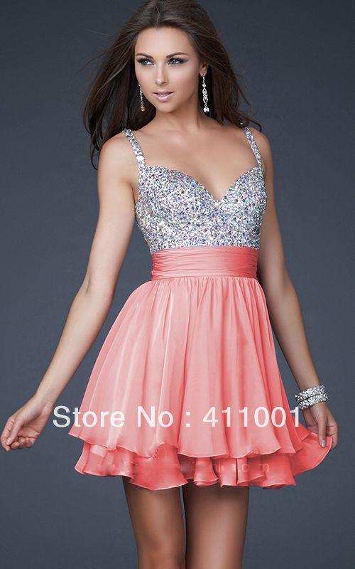 La promoción de color rosa coral corta correas v- la espalda de gasa de dama de honor vestido de fiesta vestido de novia para wome/ni...