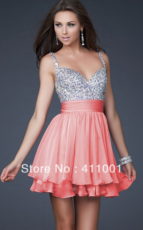Promotion Coral Pink Straps Short V-Back Chiffon Bridesmaid Party Dress Bridal Gown for Wome/Girls All  Sizes XS-3XL 4XL $49.00 FALDA EN SEDA ABRIL. Más voluminosa que ls de gasa. Pero muy linda también. Puede ser uns o dos capas.