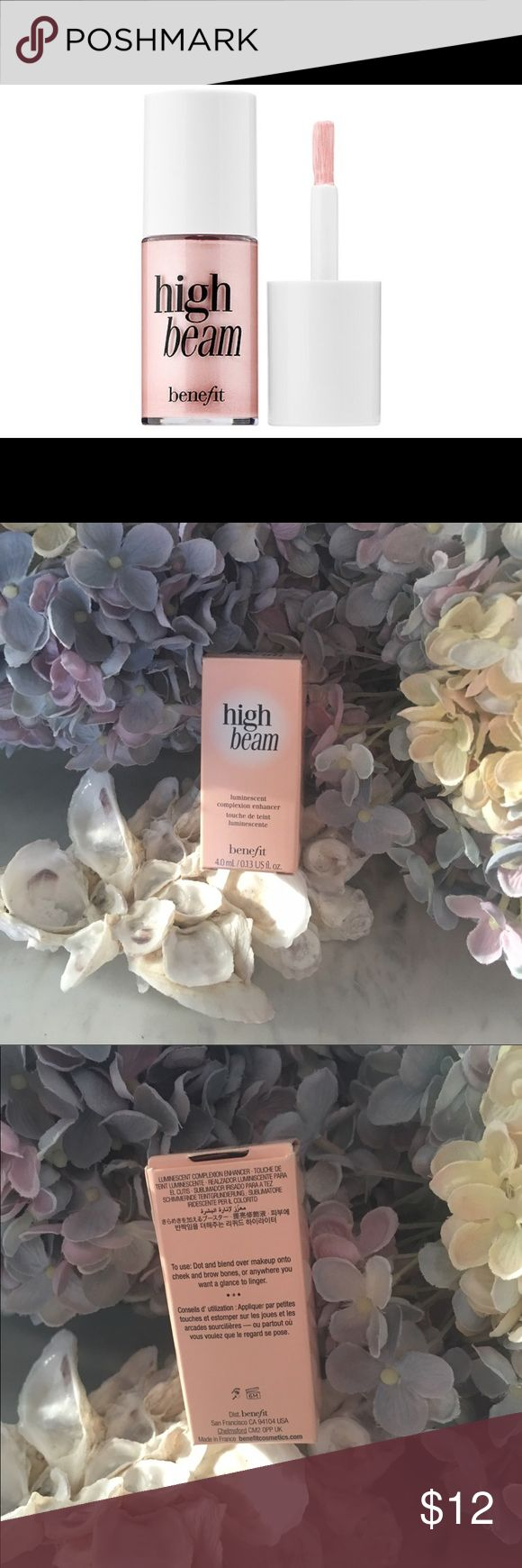 Benefit High Beam This is the travel size. Perfect size because a little goes a long way. This is a gorgeous saying-pink, liquid highlighter to add a subtle glow. Dot and blend high beam to the high points of your face and then collect compliments ❤️. No trades. Bundle to save & Enjoy 😊 Sephora Makeup Luminizer