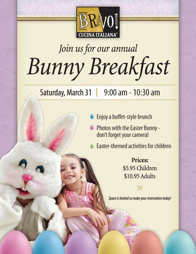 Bravo! at Bayshore is having a Bunny Breakfast on March 31st!