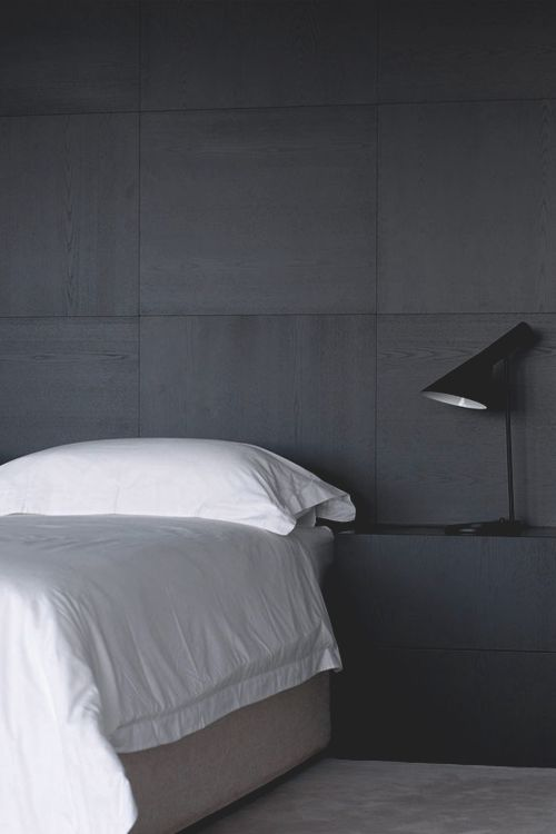Charcoal walls & AJ lamp