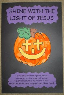 shine with the light of jesus jack o lantern for halloween sunday school craft would go well with the pumpkin story - Religious Halloween Crafts