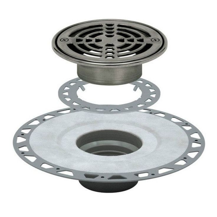 "KERDI-DRAIN Kit 6"" Round Stainless Steel Grate - PVC Flange with 3"" Drain Outlet - Qty: 10"
