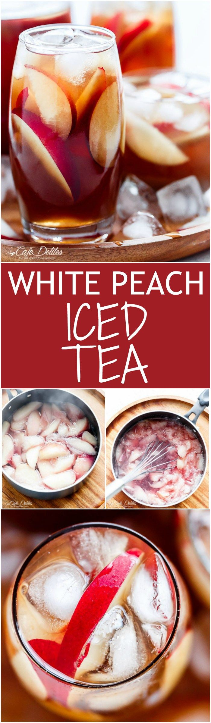 A simple fresh and homemade white peach iced tea that's better than any store bought iced tea and so addictive it will become your new favourite drink!