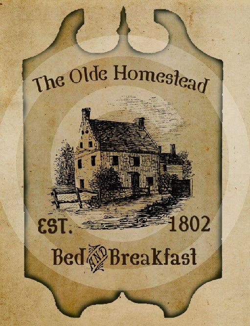 Primitive Olde Homestead Tavern Pub Sign Feedsack Feed