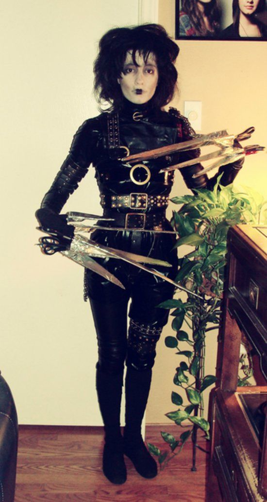 Edward Scissorhands: Kudos to you if you can put this Edward Scissorhands costume together. What you need to do: Get lots of leather for the getup and aluminum foil for the scissor hands. Source: Imgur user marlaina