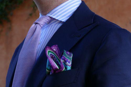 Details Cordone ! Bespoke Jacket all handmade Dandy big azure Ties 7 fold grenadine lilac Pocket square anniversary