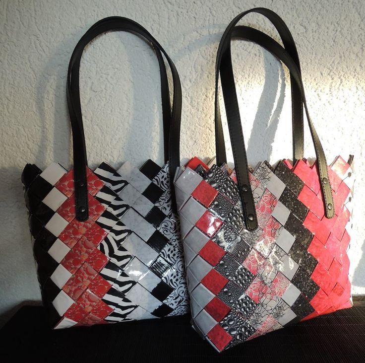 Recycling, Taschen, Flechttasche, upcycling, Zeitschriften, candy wrapper