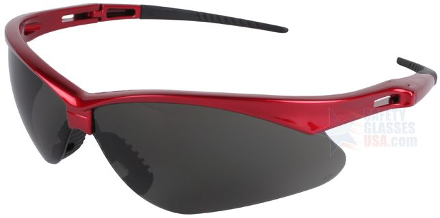 Jackson Nemesis Inferno Safety Glasses with Red Frame and Smoke Lens.