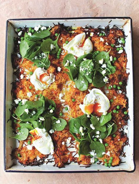 Try our easy to follow jamie's giant veg rosti recipe with poached eggs, spinach & peas recipe. Absolutely delicious with the best ingredients from Woolworths.