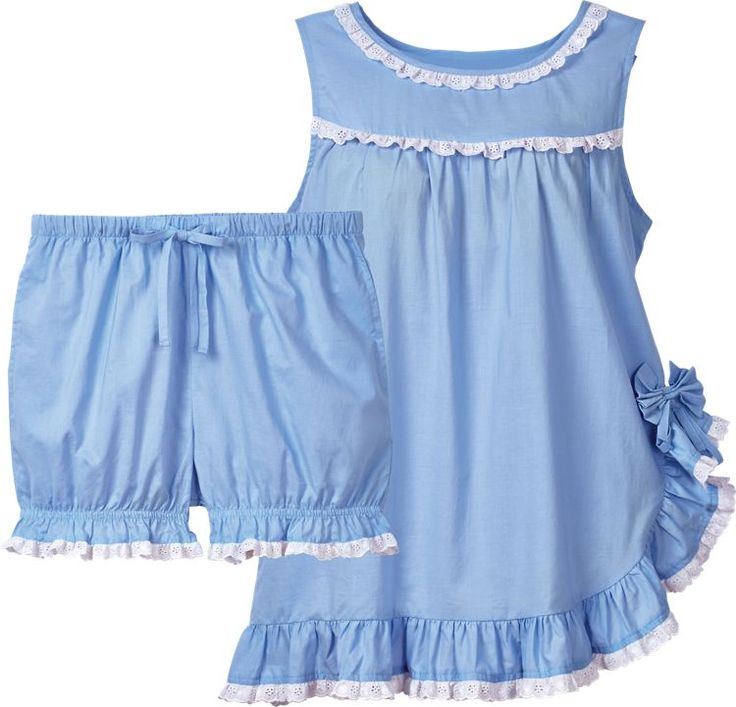 Eyelet Ruffle Baby Doll Pajamas: You childhood faves, in 100% cotton lawn that's still lightweight and cool for those sultry summer nights, but not so sheer that you need to wear a robe.