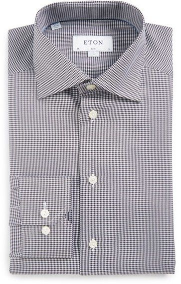 Men's Eton Slim Fit Houndstooth Dress Shirt