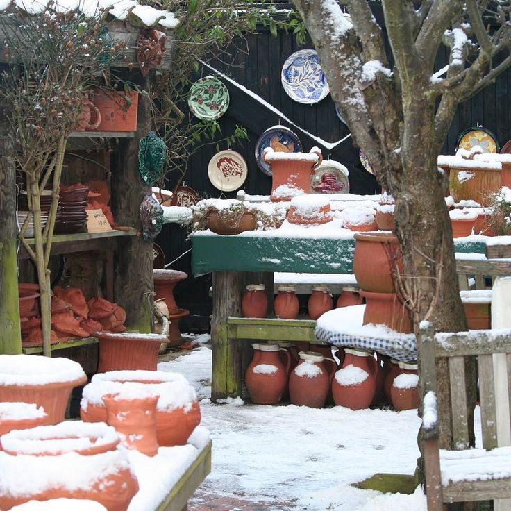 Snow in the yard at Crail Pottery #crail #eastneuk