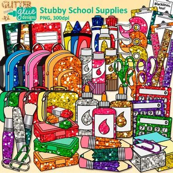 School supplies clipart: Looking for a value pack chock full of supply clip art? Like a little bling, too? Use these to label school supply drawers and bins in your classroom. Decorate your bulletin board for Meet to Teacher Night. Or create name tags for your student desks.