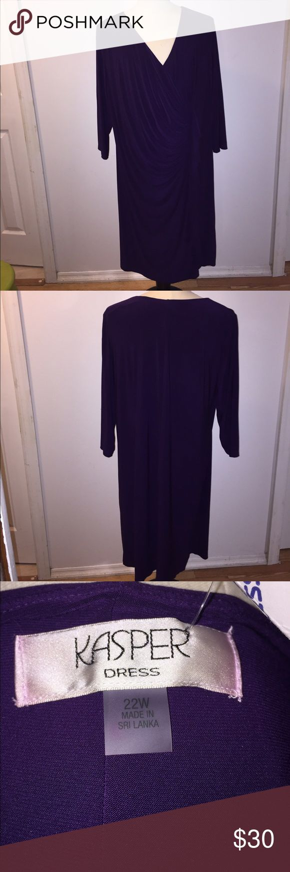 Purple plus size Dress Awesome dress with a 3/4 length sleeve and a cascading ruffle detail! You can where this to any occasion! Figure flattering!!! Kasper Dresses Midi