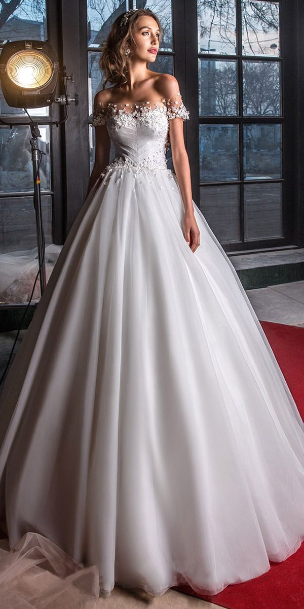Delicate Tulle Off-the-shoulder Neckline A-Line Wedding Dress With 3D Flowers & Beadings #weddingdress