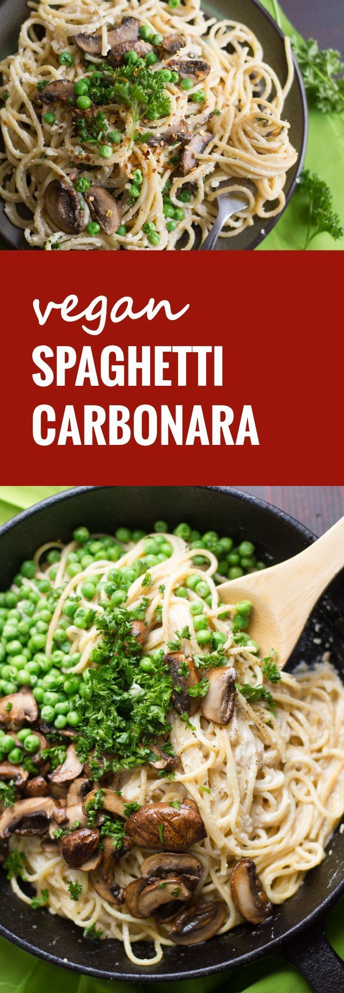 Smoky marinated cremini mushrooms and peas are tossed with spaghetti in a silky tofu and cashew sauce to create this decadently delicious vegan carbonara.