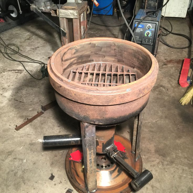Diesel truck brake drum forge assembly.
