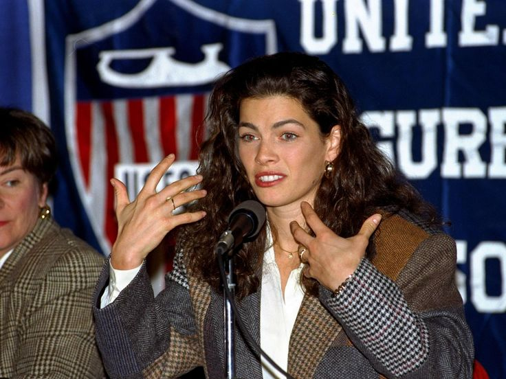 Nancy Kerrigan speaks during a news conference Friday, January 7, 1994 at Joe Louis Arena in Detroit, as she describes how she was attacked by an unknown assailant January 6, 1994 after a practice session at the US Figure Skating Championships in Detroit. Kerrigan, who withdrew from competition, was unable to defend her US Nationals title due to her injuries.  LENNOX MCLENDON, ASSOCIATED PRESS