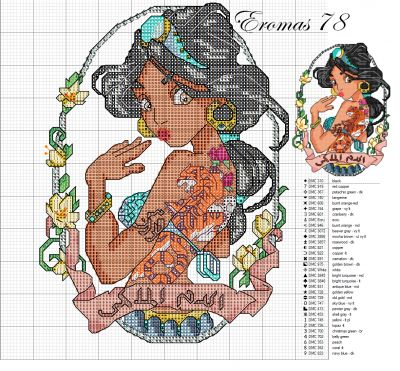 Jasmine Pin Up cross stitch pattern - this series is amazing!!