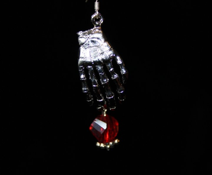 Zombie Paw Sterling silver earrings with Swarovski crystal drop.