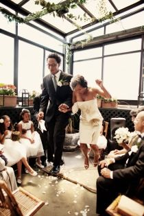 Jumping the Broom - This phrase & custom has been practiced for centuries by many different cultures from Welsh, Romani Gypsy & African-American. The jumping of the broom symbolised many things including who jumped the highest or landed 1st was the decision maker in the house.  (Photo: New York African American Wedding)