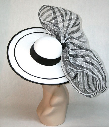 New Vinzetta Millinery Kentucky Derby Hat Fascinator Black White Wide Brim | eBay