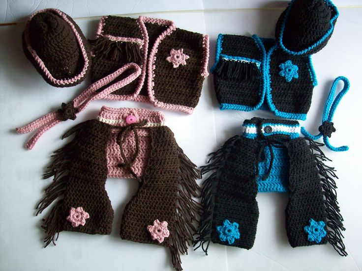 Crochet Pattern - Crochet Cowgirl Set - Crochet Cowboy Set - Baby Pattern - Western Wear - Crochet Cowboy Hat - Cowboy Chaps - Baby Patterns - pinned by pin4etsy.com