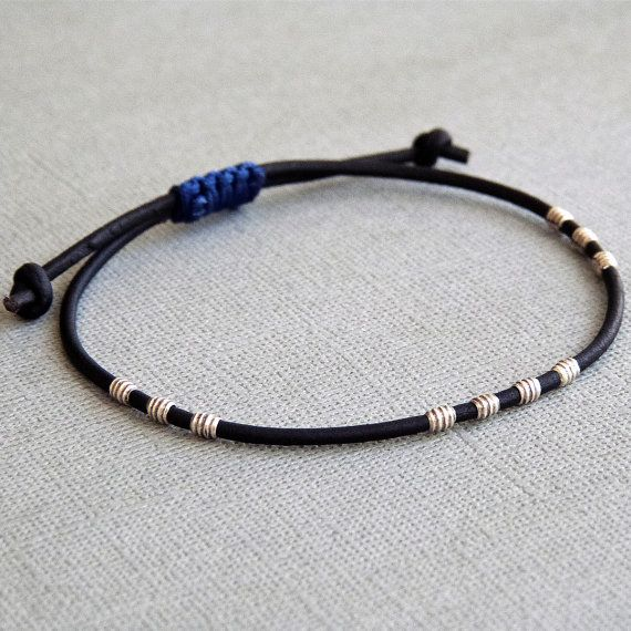 Simple Thin Leather Bracelet for Men / Women with Sterling ...