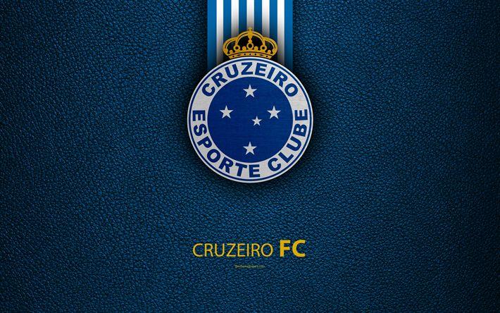 Download wallpapers Cruzeiro FC, 4K, Brazilian football club, Brazilian Serie A, leather texture, emblem, Cruzeiro logo, Belo Horizonte, Minas Gerais, Brazil, football