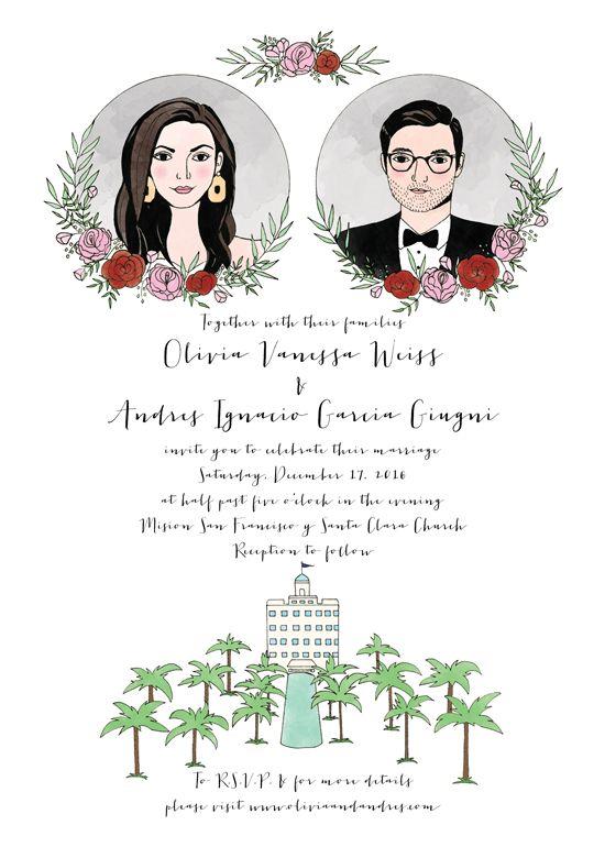 25 best postcard idea images on pinterest wedding stationary custom illustrated wedding invitation by amy wang hoyer stopboris Images