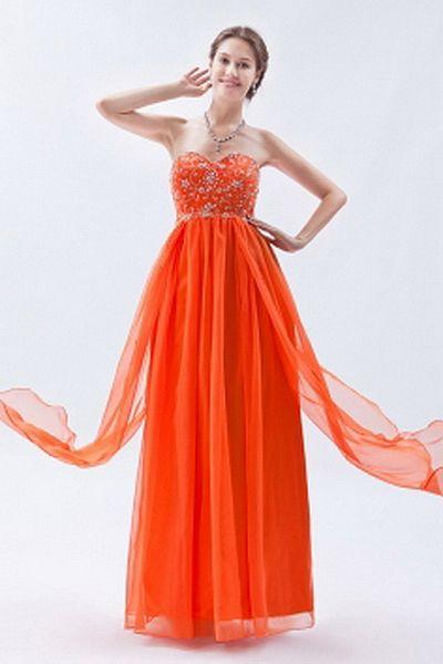 Orange Chiffon A-Line Celebrity Gowns sfp1330 - http://www.shopforparty.com/orange-chiffon-a-line-celebrity-gowns-sfp1330.html - COLOR: Orange; SILHOUETTE: A-Line; NECKLINE: Sweetheart; EMBELLISHMENTS: Beading , Embroidery , Sequin; FABRIC: Chiffon - 180U