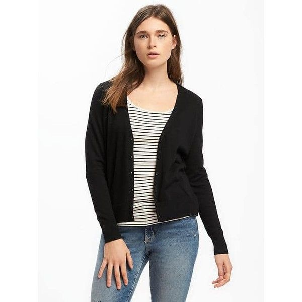Old Navy Womens Button Front Cardi ($25) ❤ liked on Polyvore featuring tops, cardigans, black, petite, long sleeve v neck cardigan, petite long sleeve tops, v neck cardigan, button front cardigan and cardigan top