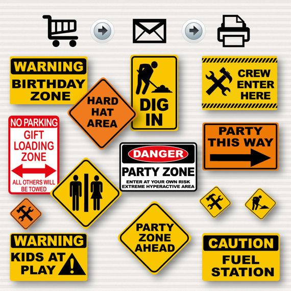 Construction Birthday Party Signs, Party Signs, Construction Party Theme, Caution Signs, Danger Signs, Road Signs, Birthday Instant download