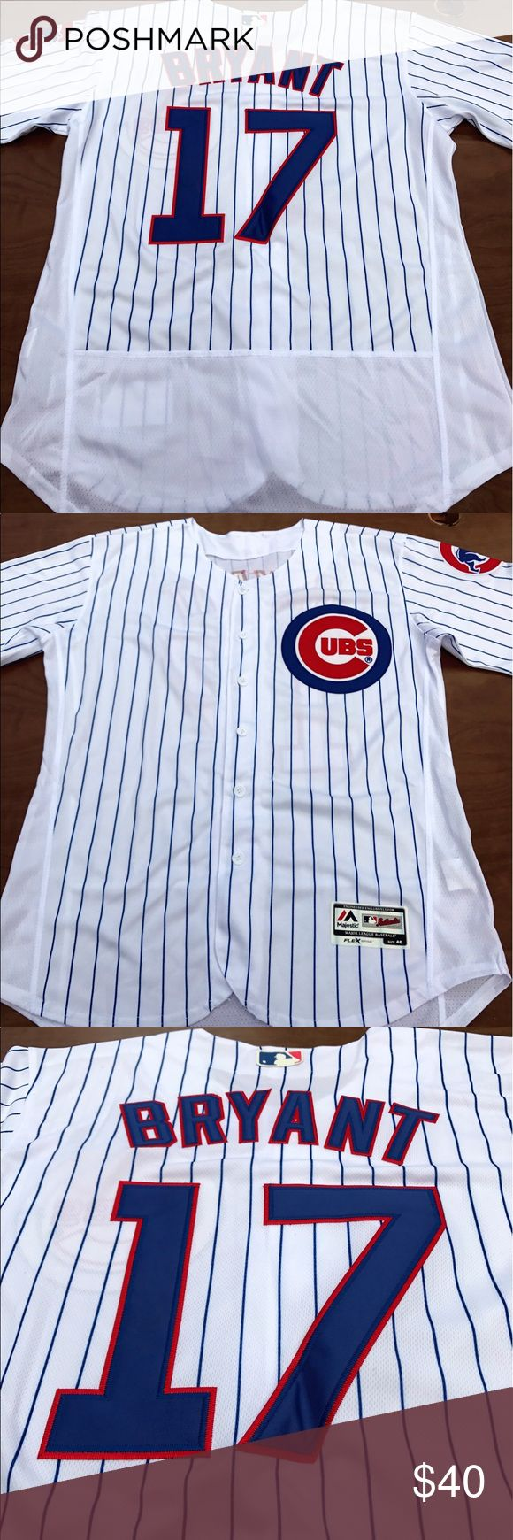 Men's Chicago Cubs Kris Bryant Home jersey (M) Chicago Cubs Men's Kris Bryant home jersey. Brand new with tags, Majestic Athletic, fully embroidered Flex Base on field jersey. Please check my other listings for more Cubs merchandise! Rizzo. Bryant. Russell. Ross. Schwarber. I've got em all! Majestic Shirts Casual Button Down Shirts
