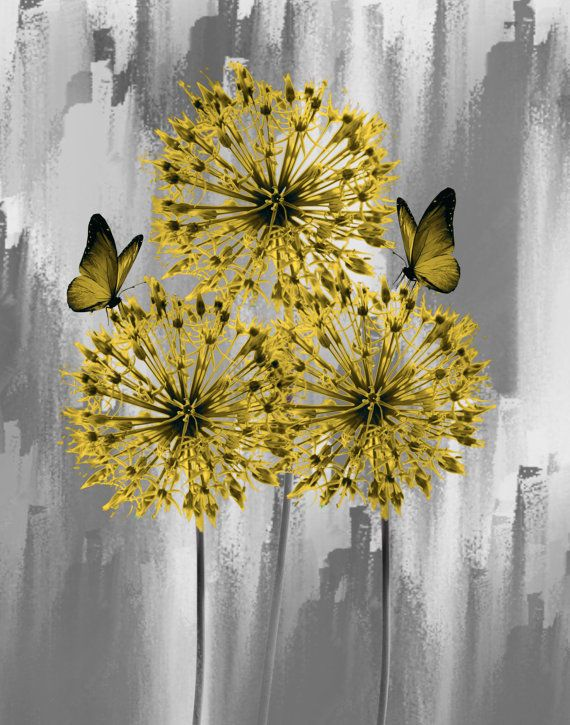 Yellow Gray Floral/Butterfly Wall by LittlePiePhotoArt on Etsy