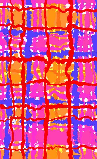 Pink, blue and orange checks - Sarah Bagshaw