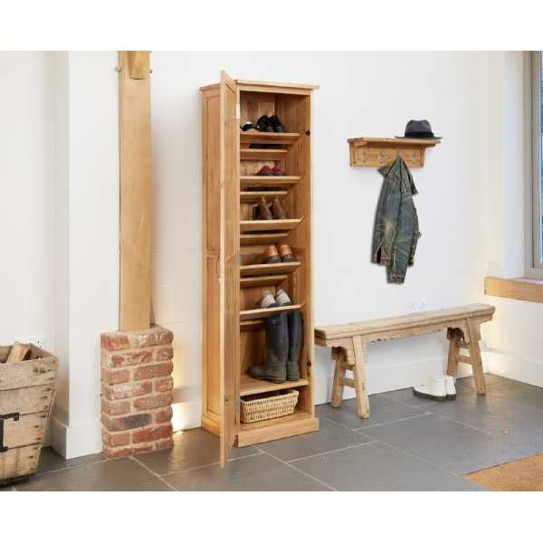 cor20e baumhaus mobel oak tall shoe cupboard