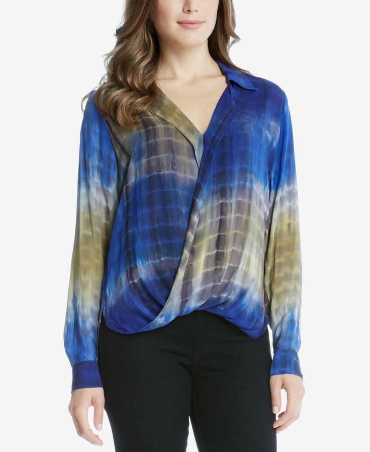 Win serious style points in Karen Kane's stunning tie-dyed crossover blouse. | Rayon | Dry clean | Made in USA | Point collar; V-neckline | Pullover styling | Long sleeves with button cuffs | Crossove