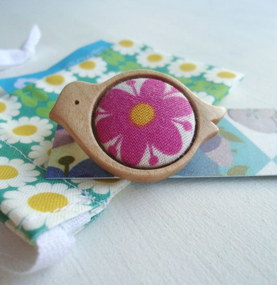 sycamore wood and vintage fabric birdie brooch by modflowers, £15.00