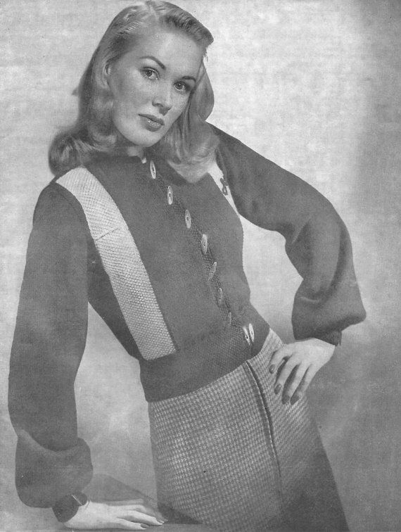1940s Knitting Pattern for Womens Jeep Jacket / Cardigan / Ski Jacket - Manon - Digital PDF