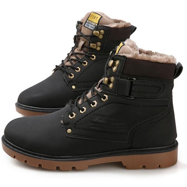 Tangnest Winter Fur Men Boots Casual Lace Up Safety Work Boots